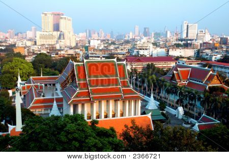 View Of Bangkok City With Temple
