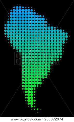 Halftone Round Spot South America Map. Vector Territory Map In Green-blue Gradient Colors On A Black