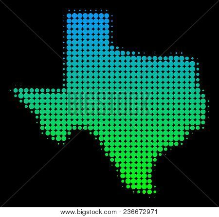 Halftone Circle Spot Texas Map. Vector Territory Map In Green-blue Gradient Colors On A Black Backgr