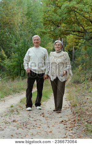 Portrait Of Beautiful Caucasian Senior Couple Walking  In Park