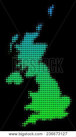Halftone Circle Blot United Kingdom Map. Vector Territory Map In Green-blue Gradient Colors On A Bla