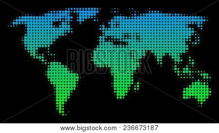 Halftone Round Blot World Map. Vector Geographic Map In Green-blue Gradient Colors On A Black Backgr