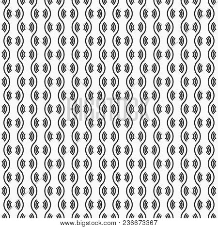 Vector Seamless Pattern. Modern Stylish Geometric Texture. Repeating Wavy Lines. Regularly Repeating
