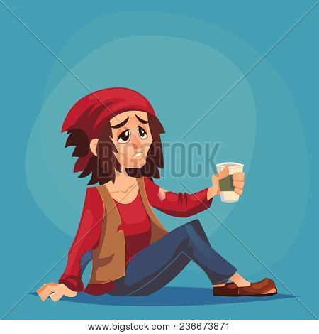 Homeless Bum Poor Abused Woman Adult Beg Money And Need Help Isolated Cartoon Design Vector Illustra
