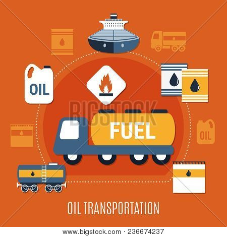 Fuel Pump Colored Composition With Oil Transportation Headline And Transport In Flat Style Vector Il
