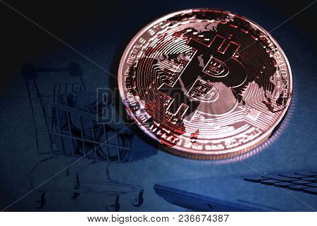 Bitcoin Digital Currency,  Bit-coin On Motherboard Or Electronic Board With Chips, Cryptocurrency Mo