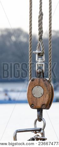 Wooden Pulley  - The Rigging Element On The Yacht