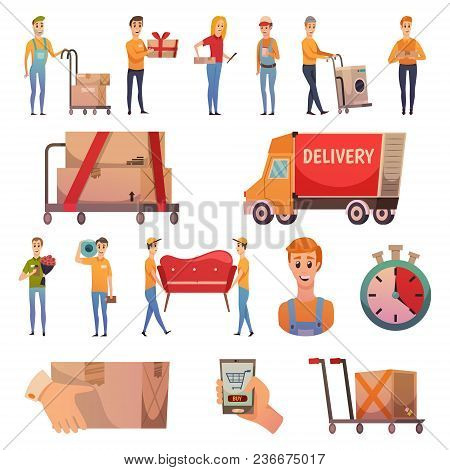 Courier Secure Delivery Service Orthogonal Icons Collection With Parcels Dispatch Transportation And