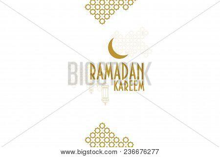 Ramadan Kareem Monochrome Vector Greeting Card Template. Muslim Crescent Moon, Ramadan Lanterns And