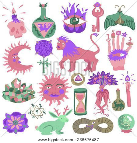 Colorful Doodle Tattoo Design Set With Various Magic Creatures And Alchemy Symbols Isolated On White