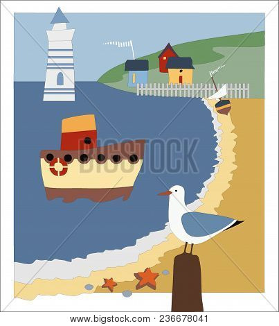 Vector Image Shore Of The Sea, Lighthouse, Boat Mooring, Seagull On The Shore, Houses On The Mountai