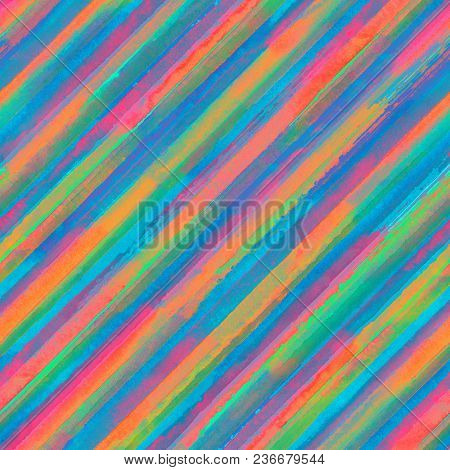 Colorful Rainbow Stripes Seamless Pattern Background. Watercolor Color Hand Drawn Striped Texture. P