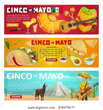 Cinco De Mayo Greeting Banner With Mexican Holiday Food And Fiesta Party Symbols. Spring Festival So