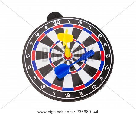 Yellow Dart Arrow Hitting On Center Of Dartboard Isolated On White Background, In Concept Of Opportu