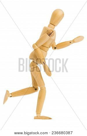 Running Step Action Of Wooden Figure Isolated On White Background, Included Clipping Path.