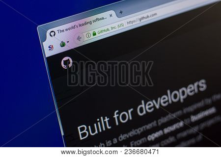 Ryazan, Russia - April 16, 2018 - Homepage Of Github Website On The Display Of Pc, Url - Github.com