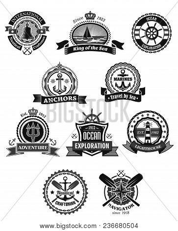 Nautical And Marine Heraldic Badge Set. Anchor, Sea Ship, Helm, Sailing Boat, Lighthouse, Compass Ro