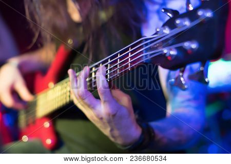 Stage Lights.abstract Musical Background.playing Guitar And Concert Concept.live Music Background.mu
