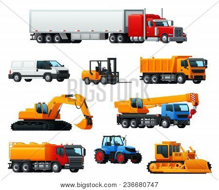 Road Transport And Heavy Machinery 3d Icon. Car Or Delivery Van, Lorry Truck, Bulldozer, Tractor, Du