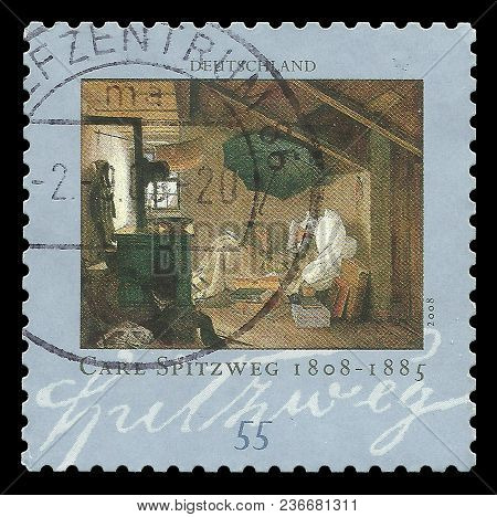 Germany - Circa 2008: Stamp Printed By Germany, Color Edition On Art, Shows Painting The Poor Poet B