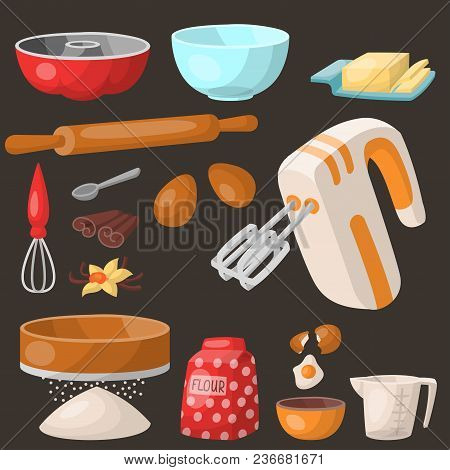 Baking Pastry Prepare Cooking Ingredients Kitchen Utensils Homemade Food Preparation Baker Vector Il