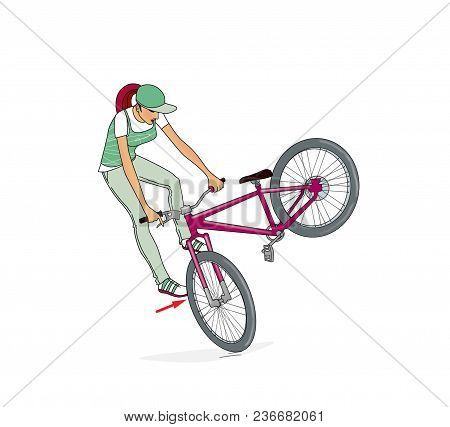 Bikes Jumping Ramps. A Girl On A Bicycle Trains A Rack, Turns And Jumps On A Bicycle Ramp. Bicycle J