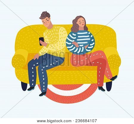 4089584 Couple Is Offended With Each Other. They Don't Talk And Look At All.