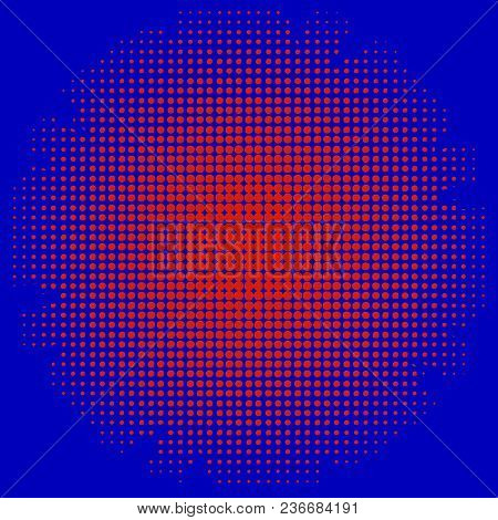 Abstract Illustration Od Red Dots Over Bright Blue Background