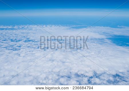 Cloudscape, Weather, Nature. Sky And Clouds Seen From Above. Atmosphere, Stratosphere, Air. Wanderlu
