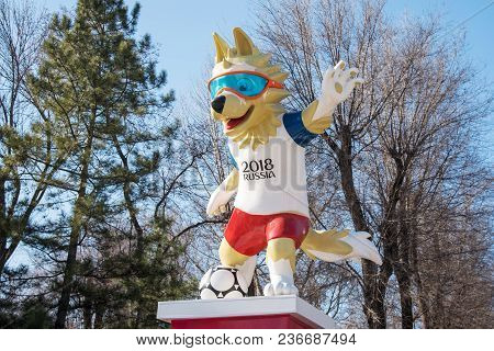7 April, 2018. Rostov-on-don. The Official Mascot Of The 2018 Fifa World Cup And The Fifa Confederat