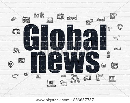 News Concept: Painted Black Text Global News On White Brick Wall Background With  Hand Drawn News Ic