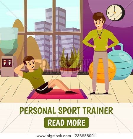 Personal Sport Trainer Background With Man During Physical Exercise On Mat Near Instructor With Whis
