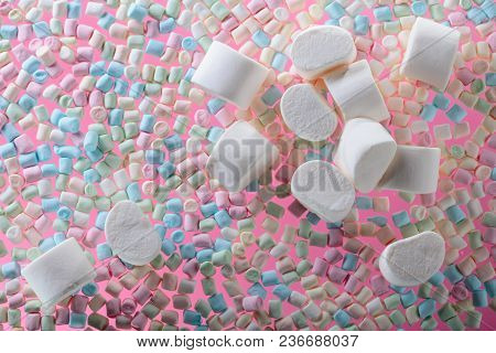 Marshmallows On Pink Background .top View . Copy Space .