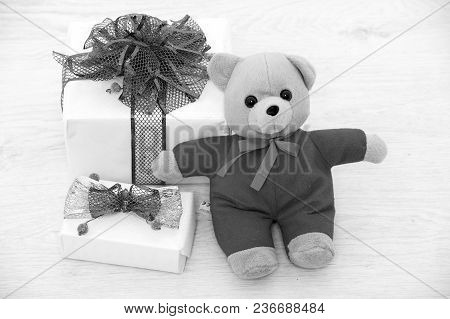 Present Package Isolated On White Background. Christmas Box With Red Ribbon And Valentines Day Bear.