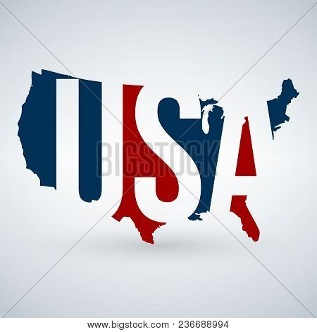 Us Logo Or Icon With Usa Letters Across The Map, United States Of America. Blue And Red Colors. Vect