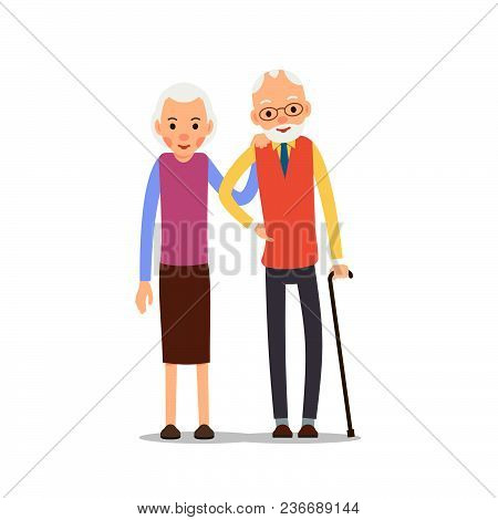 Senior Couple. Two Aged People Stand. Elderly Man With Cane In His Hand And Woman Stand Together And