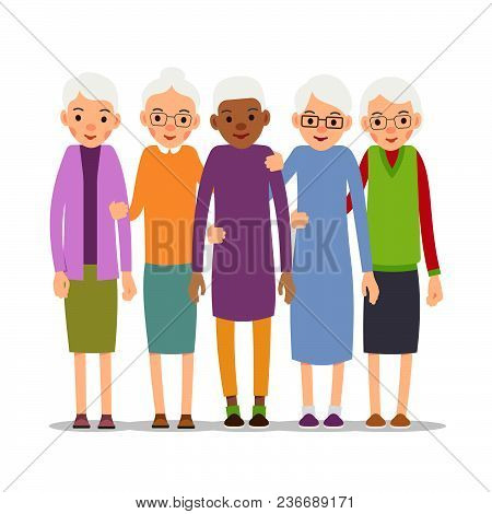 Older Woman. Old Woman Character In Various Poses. Woman In A Dress, Blouse And Skirt. Set Cartoon I