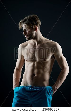 Bearded Man With Muscular Torso, Health. Sexy Macho With Fit Bare Chest And Belly Muscles, Fitness.