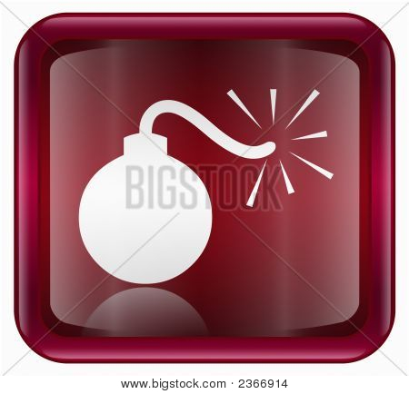 Bomb Icon Red, Isolated On White Background