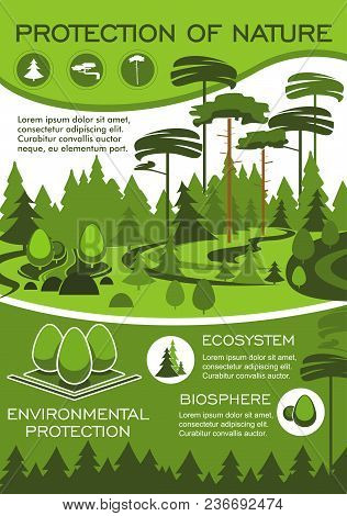 Green Nature And Environment Protection Poster For Ecology And Natural Resources Conservation. Fores