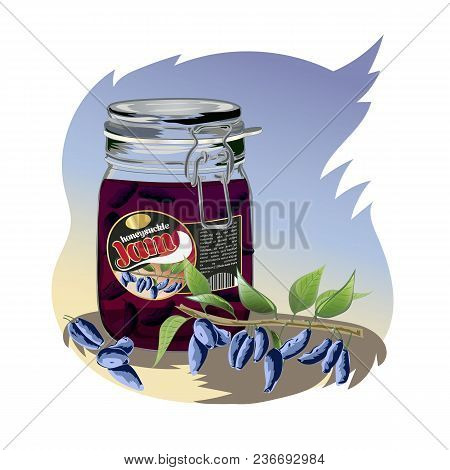 Honeysuckle Jam In The Jar. Isolated Image