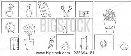 Wooden Shelves Line Pattern Background. Different Outline Hand Drawn Items In Living Room