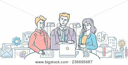 Business Meeting With Chief - Modern Flat Design Style Colorful Illustration On White Background. Tw