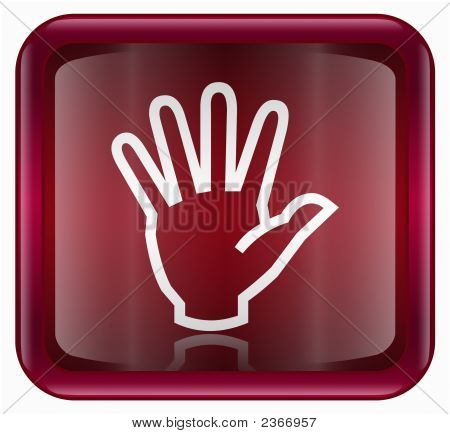 Hand Icon Red, Isolated On White Background