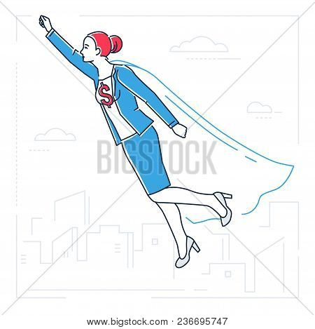 Businesswoman With A Super Power - Line Design Style Isolated Illustration On White Background. Meta