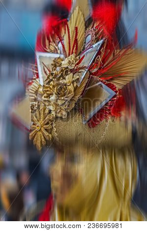 An Unidentified Mask Attends At The Carnival Of Venice. Motion Blur Filter Applied.