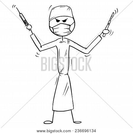 Cartoon Stick Man Drawing Conceptual Illustration Of Crazy, Mad Or Insane Doctor Surgeon Holding Sca
