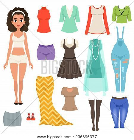 Flat Vector Set Of Women S Clothes Items. Stylish Denim Overall, Blouses, Skirts, Dresses, Stockings