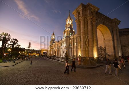 AREQUIPA PERU NOVEMBER 9: Main square of Arequipa with church on november 9 2015 in Arequipa Peru. Arequipa's Plaza de Armas is one of the most beautiful in Peru.
