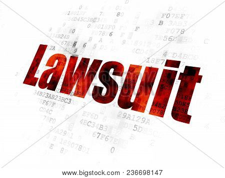 Law Concept: Pixelated Red Text Lawsuit On Digital Background